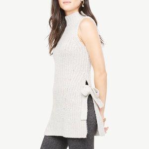 NWOT Ann Taylor Gray Turtleneck Sleeveless Sweater